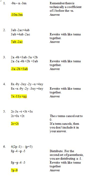 practice simplifying algebraic expressions