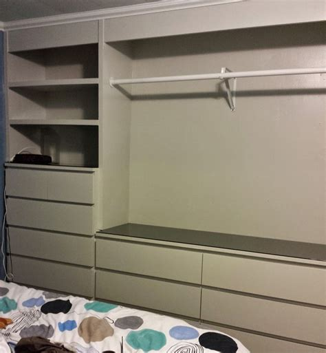 ikea hack built in wardrobe using malm dressers laundry