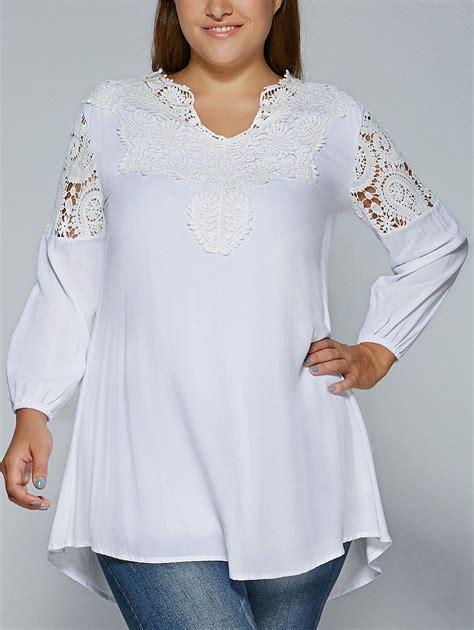 plus size lace blouse tops white plus size lace splicing crochet blouse gamiss