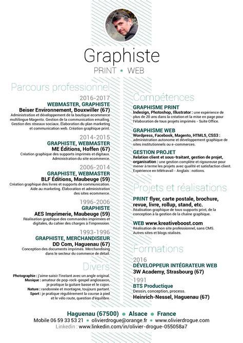 Modèle De Cv Professionnel 2016 by Calam 233 O Cv Graphiste Webmaster Olivier Drogue 12 2017