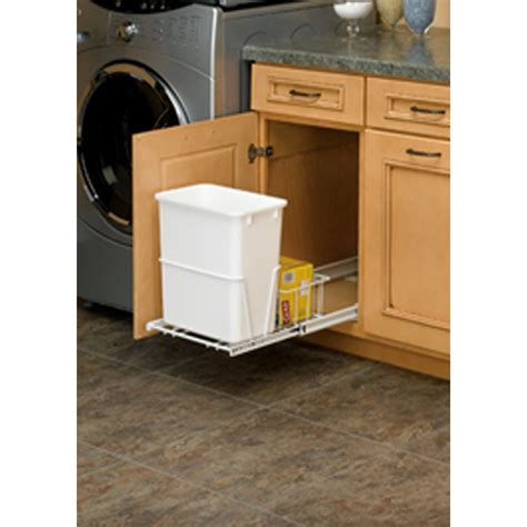 sliding trash can under sink shop rev a shelf 20 quart plastic pull out trash can at