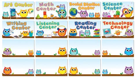 colorful owls center signs bulletin board sets 341 | CD 110274