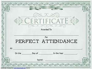 Perfect Attendance Certificate Template Free Sample Perfect Attendance Certificate Images Certificate Design And Template