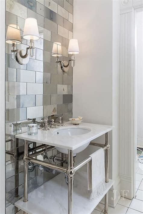 Mirrored Bathroom Wall Tiles by Guest Bath New House Chic Powder Room Features An Accent