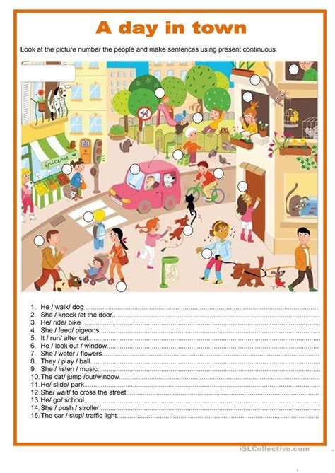 day  town present continuous english esl