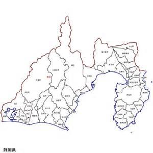 静岡県:静岡県の市町村区分地図