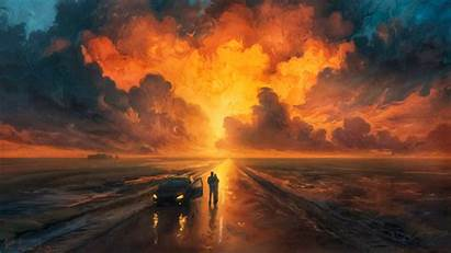 Couple 4k Journey Sunrise Sky Wallpapers Painting