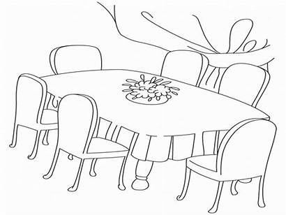 Table Coloring Dining Pages Dinner Chairs Scene