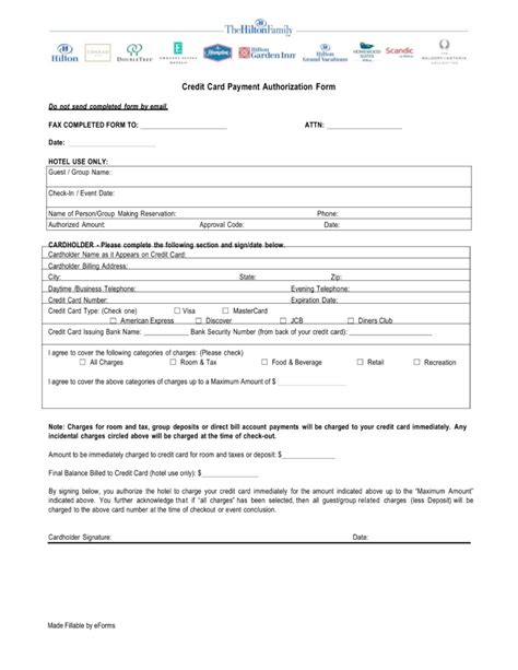 hilton credit card authorization form  word