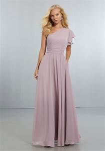 chiffon bridesmaids dress with one shoulder flounced With one sleeve wedding dress