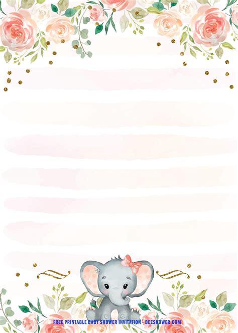 printable pink baby elephant baby shower invitation