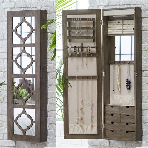 Wall Mount Jewelry Cabinet by Belham Living Lighted Locking Quatrefoil Wall Mount