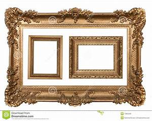 3 Decorative Gold Empty Wall Picture Frames Stock Image ...