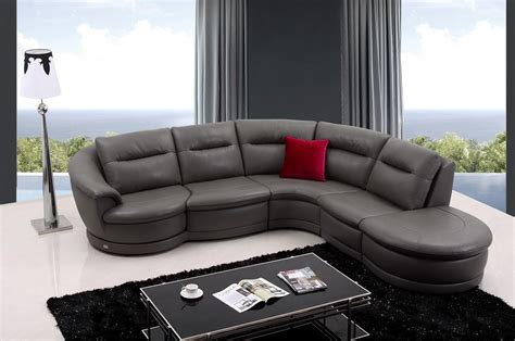 Dark Grey Leather Sectional Couch With Curved Chaise And