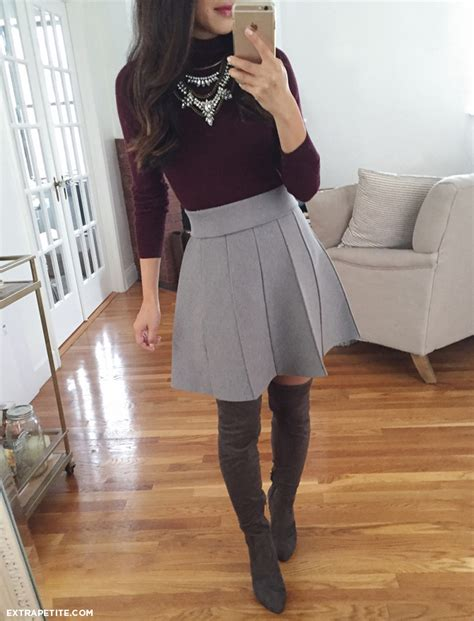 Petite outfit ideas // Ann Taylor turtleneck sweater + skirt Ivanka Trump over the knee tall ...