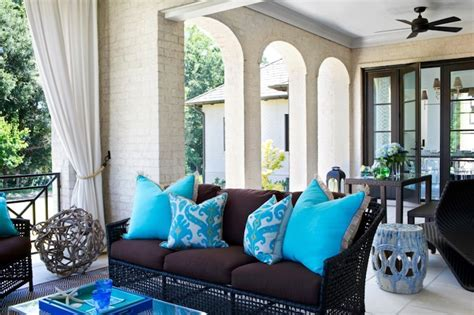 turquoise ikat pillow contemporary deckpatio tri