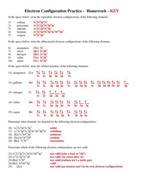 Exercise Electron Configurations Worksheet Electron Configurations   Homework Pinterest