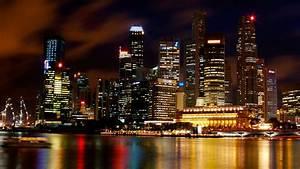 Singapore port city at night wallpaper | city wallpaper