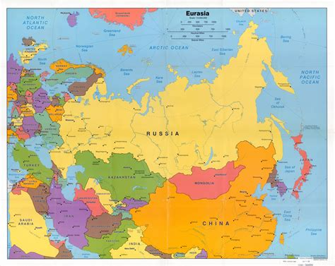 large detailed political map  eurasia wth capitals