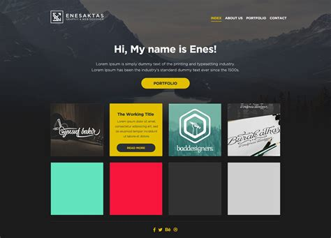 free html portfolio templates 35 free single page website template psd creativecrunk