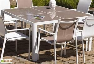 Table Carrée Verre : table de jardin carr e en aluminium et verre 140 cm velasquez ozalide ~ Teatrodelosmanantiales.com Idées de Décoration