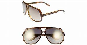 Lyst - Gucci Logo Temple 63mm Aviator Sunglasses - Havana ...