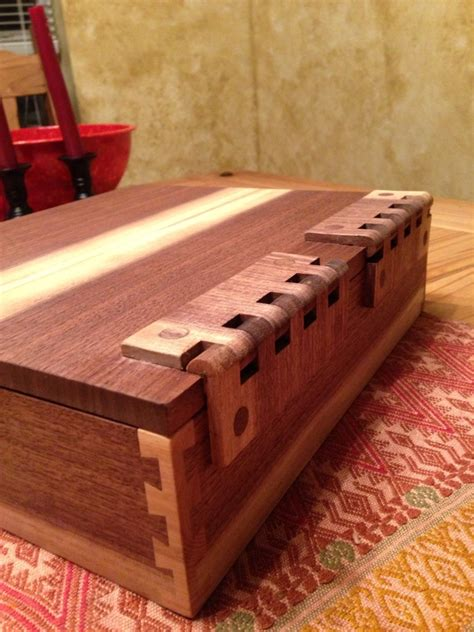 box  corner post dovetails  wooden hinges