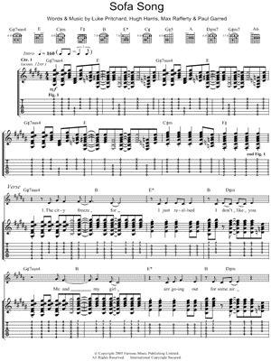 Kooks Sofa Song The Kooks Quot Sofa Song Quot Guitar Tab Print