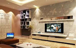 Interior design tv wall wallpaper and cupboard