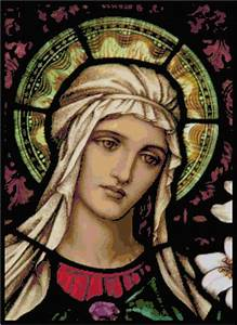 Mary In Stained Glass Pattern Chart Graph