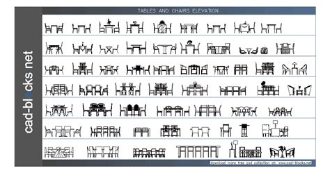 furniture cad blocks tables in elevation view