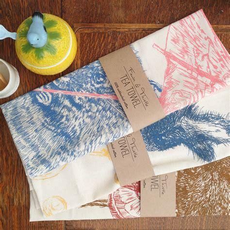 vincent vole tea towel  fawn thistle