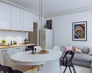 1001 idees pour amenager une cuisine ouverte dans l39air With table de salle À manger en bois pour petite cuisine Équipée