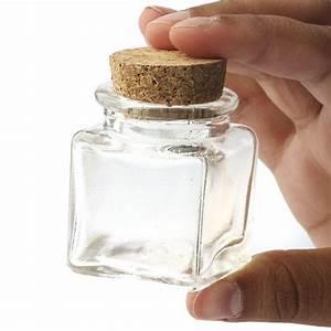 Small Glass Square Cork Jar - Decorative Containers