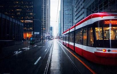 Street Tram Buildings Ultra Rain Toronto Transportation