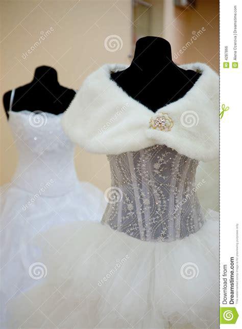 wedding dresses  mannequins royalty  stock image