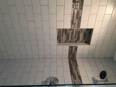 tile shower pics subway tile shower with glass tile wall insert feature
