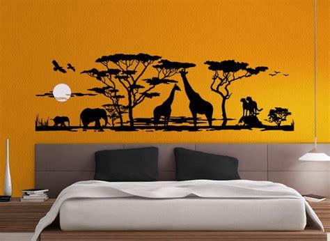afrika wohnzimmer wandtattoo afrika landschaft savanne elefanten giraffen w683 schwarz wohnzimmer ebay