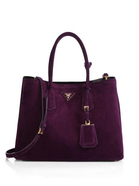 prada suede double bag  purple lyst