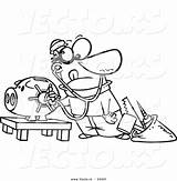 Bank Coloring Robber Cartoon Piggy Vault Outlined Unlocking Toonaday Vecto Rs sketch template