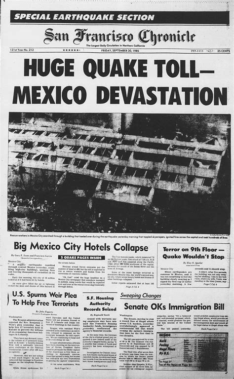 chronicle covers  great mexico earthquake