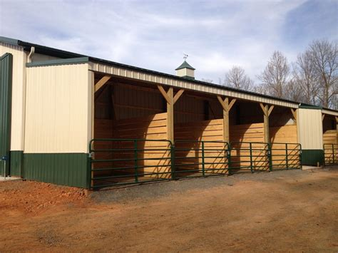 Out Door Horse Stalls Under Lean-to