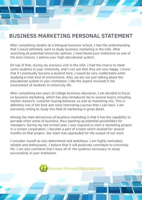 pin  business personal statement samples  business