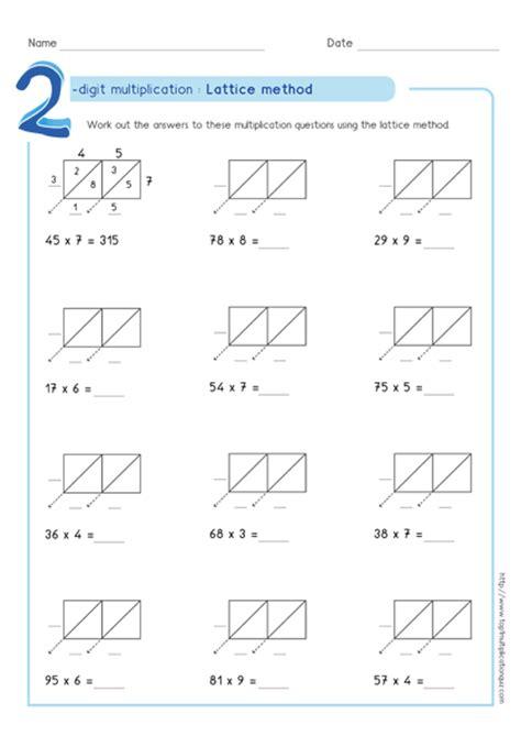 lattice multiplication worksheets 2 digit by 2 digit