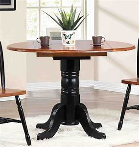 Sunset, Trading, -, Round, Drop, Leaf, Dining, Table, In, Antique, Black, With, Cherry, Finish, Top
