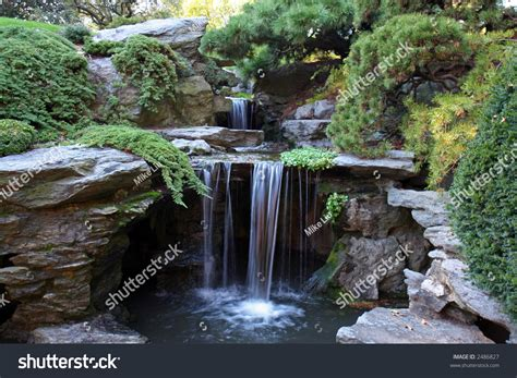 Waterfall At Japanese Garden Stock Photo 2486827