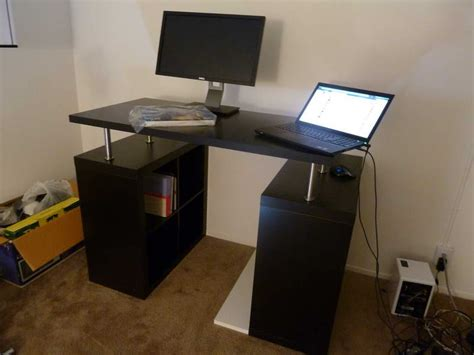 desk monitor stand ikea ikea standing desk with computer monitor dining room
