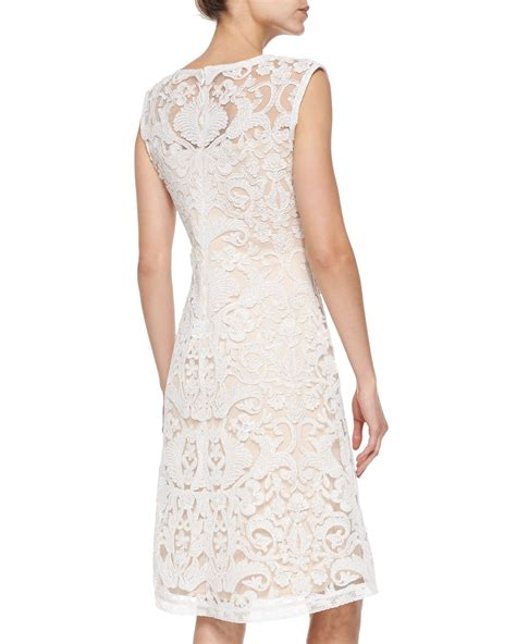 What Is A Boat Neck Dress by Lyst Tadashi Shoji Sleeveless Boat Neck Lace Overlay