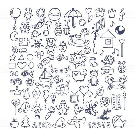 collection  hand drawn cute doodles doodle children