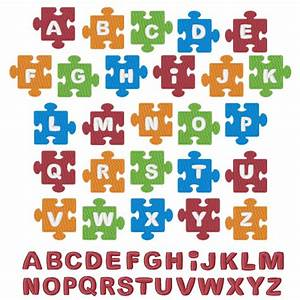 puzzle piece solid font embroidery font annthegran With puzzle piece letters